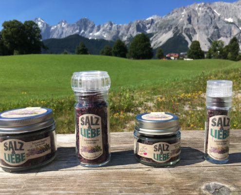 Salz und Liebe - Bergsalz mit Schwarzbeere - Blaubeere - Lavendel