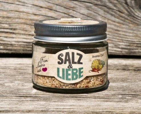 Salz und Liebe - Ananas Chili - Bergsalz - Grobes Grillsalz