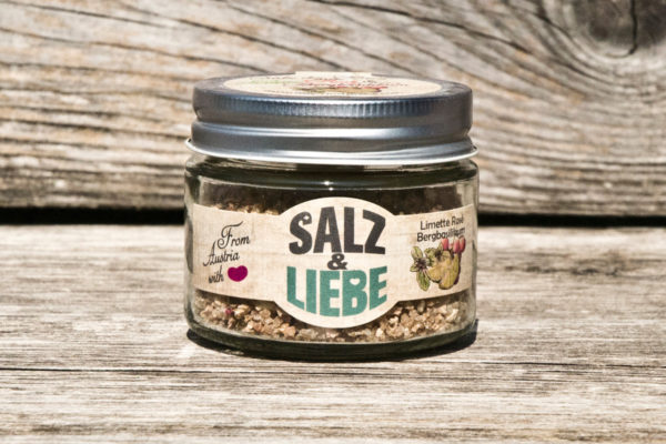 Salz und Liebe - Limette Rosé Bergbasilikum - Bergsalz - Grobes Grillsalz