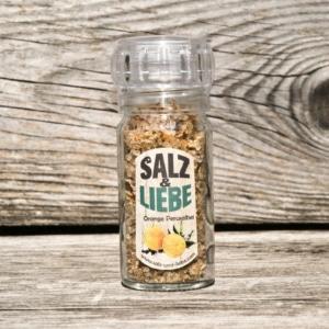 Salz und Liebe -Orange - Perusalbei - Salz -Mühle mit Keramikmahlwerk