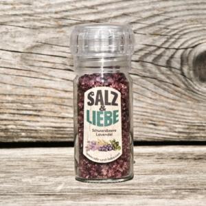 Salz und Liebe - Schwarzbeere - Blaubeere - Lavendel Salz -Mühle mit Keramikmahlwerk