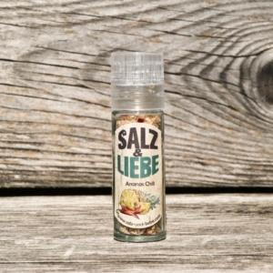 Salz und Liebe - Ananas - Chili -Salz in der Minimühle - Grillsalz